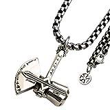 NICEWL Herren Wikinger Thor's Axt Anhänger Halskette,Männer Titan Stahl Runen Amulett...