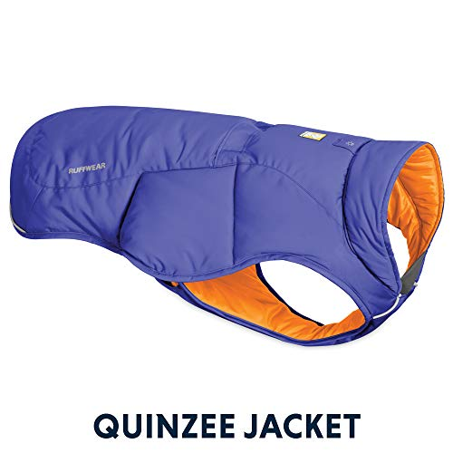 Ruffwear Quinzee Ultra Warm Winter Hundemantel mit Leine Portal & Stuff Sack, Blau, S