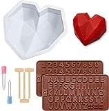 Cozywind Stampi Silicone Cuore 3 Pezzi,Stampi a Forma di Cuore + Stampi in Silicone Letter...