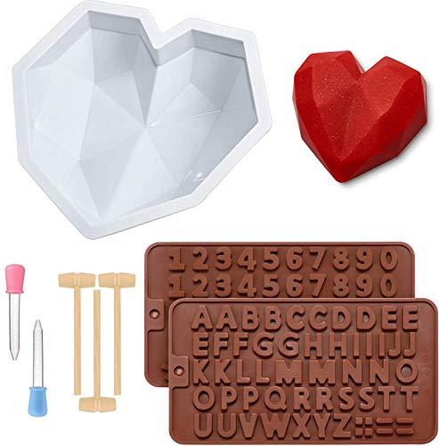 Cozywind Diamant Herz Formen+2 Stück Silikon Buchstaben Zahlen Form, 3D Kuchen Silikonformen, Herz Formen Groß Antihaft Silikonform, Schokoladenformen Silikonformen, mit 3 Holz Schlegel+2 Tropfern