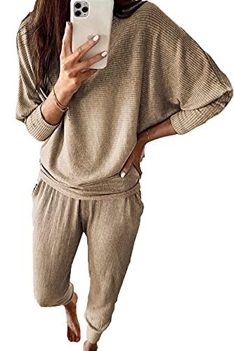 PRETTYGARDEN Women's 2 Piece Sweatsuit Solid Color Long Sleeve Pullover Long Pants Tracksuit With Pockets (Khaki, l)