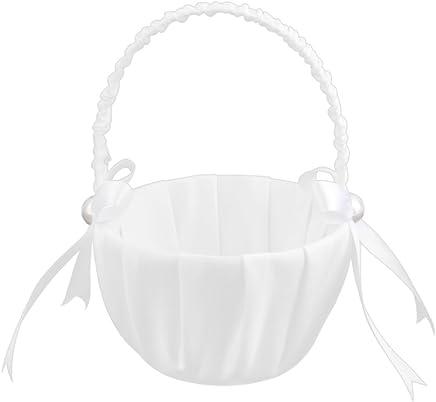 Snner Weissen Satin Perlen Hochzeit Blumenmaedchen Korb Bowknot Dekor