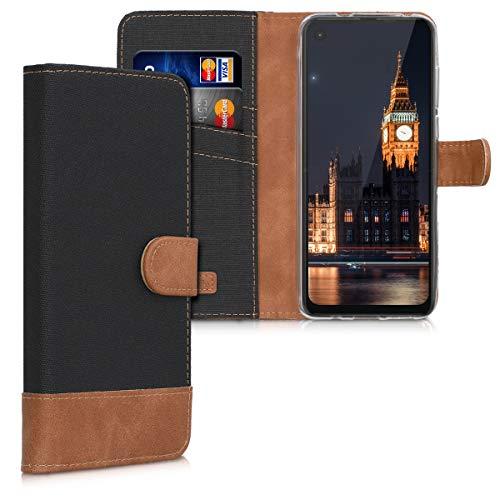 kwmobile Wallet Hülle kompatibel mit Motorola One Action - Hülle Kunstleder mit Kartenfächern Stand in Schwarz Braun