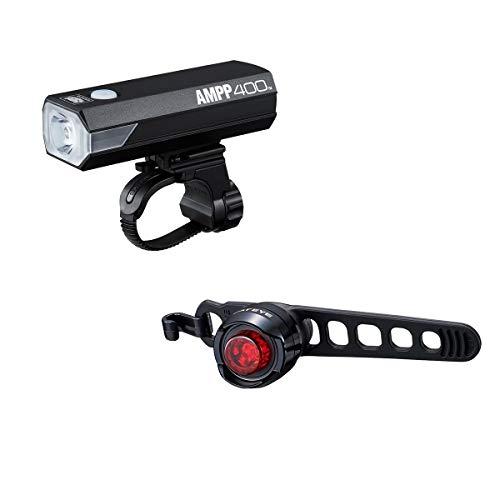 CATEYE AMPP 400 / ORB Rechargeable LED Light Set Front & Rear Safety Lights Bright 400 Lumen, black