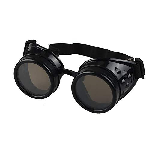Steampunk Goggles Vintage Style Laspunk glazen, Sonnena Dames Heren Vintage Cosplay Steampunk Goggles Glasses Retro Ronde lens zweetende punk glazen zonnebril