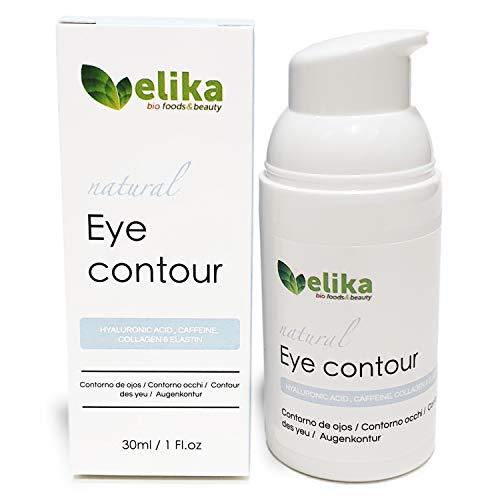 """Contorno de Ojos """"Carlotta"""" de Elikafoods. Ácido hialurónico, cafeína, colágeno y elastina. Tratamiento anti-bolsas y ojeras. Para mujer y hombre, indicada para cualquier tipo de piel, 30ml."""