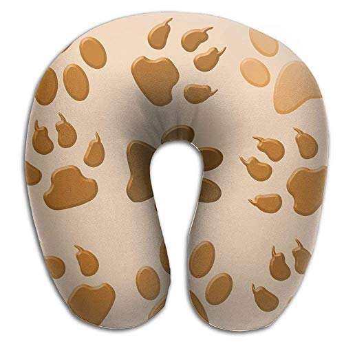 Rghkjlp Neck Pillow Dog Paw Footprint Travel U-Shaped Pillow Soft Memory Neck Support for Train Airplane Sleeping