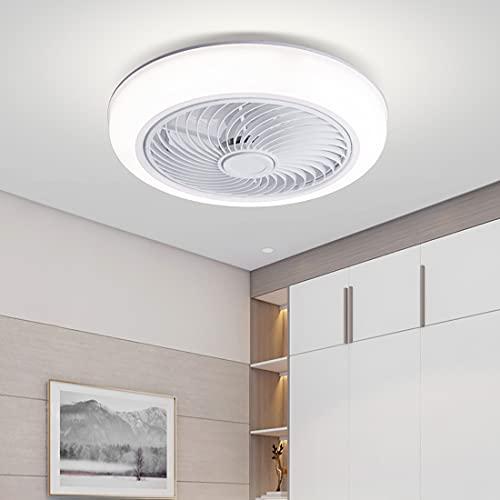 YUNLONG 45Cm Ventilatore da Soffitto con Luce E Telecomando Silenzioso Piccolo Camera Moderno Plafoniera Ventilatore LED Dimerabile 3 Velocita Soggiorno Lampada Ventilatore Soffitto con Timer,Bianca