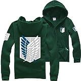 Ataque a Titan Shingeki Kyojin Legion Scouting Cosplay Chaquetas de Traje Abrigo Sudaderas (Verde,XL)