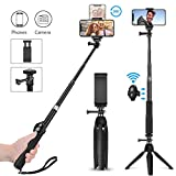 Bastone Selfie Treppiede Bluetooth, 3 in 1 Estensibile Portatile Selfie Stick, Wireless co...