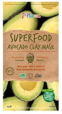 Superfood Avocado Clay Mask by 7th Heaven | Brightening and Exfoliating Vegan Purifying Mask for Deep Pore Cleansing - Suitable for Men & Women