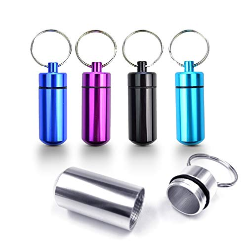 5 Pack - Aluminum Keychain Medication Pill Box. Waterproof Portable Mini Travel Pill Boxes Medicine Vitamin Holder case. Bottle Container, Organizer, Dispenser, Reminder Weekly 7 Day, Daily, am pm