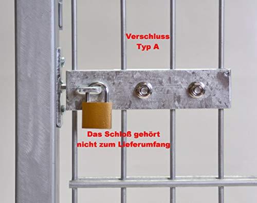 Umbaubeschlag für Doppelstabmatten Türbänder Gartentür Gittertor Doppelstabtor Beschlagsset für Gittermatten XL (265 mm lang)