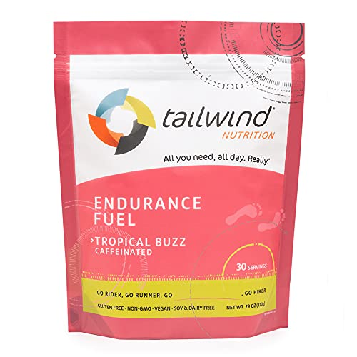 Tailwind Nutrition Caffeinated Tropical Buzz Endurance Fuel 30 Serving - Hydration Drink Mix with Electrolytes, Carbohydrates - Non-GMO, Gluten-Free, Vegan, No Soy or Dairy