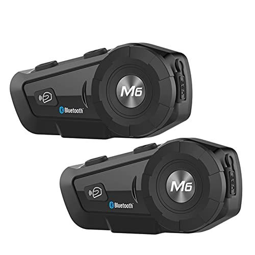2 unids M6 Plus Motorcycle Intercom Casco Auriculares Casco Intercom Motorbike Bluetooth Interphone Impermeable FM Radio Intercomunicador (Color : A)