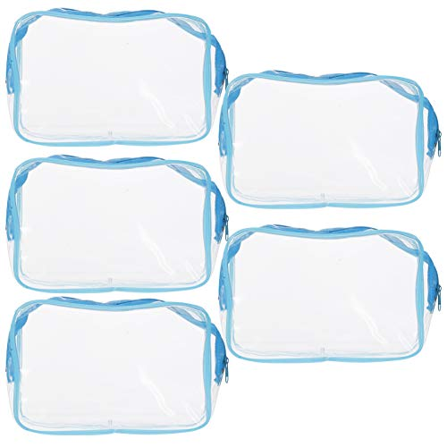 Healifty Clear Cosmetic Bag PVC Waterproof Makeup Bag Zipper Toiletry Carry Bag Bathroom Toiletries Container Desktop Small Items Holder Pencil Case Pack of 5