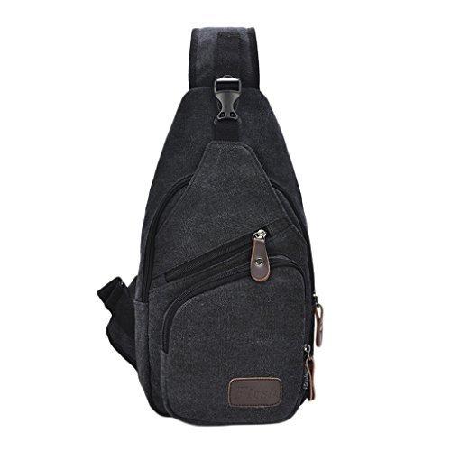 Daosen Sports Unbalance Backpack Sling Bag for Men Canvas Chest Pack/Hiking Bag Black