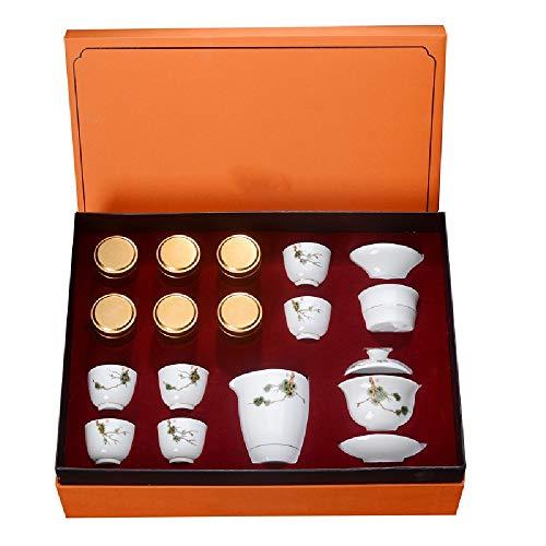 Juego de té de Porcelana Tetera de Porcelana de té Vintage China/Japonesa Inicio Negocios Hotel (Color : Blanco, Size : One Size)