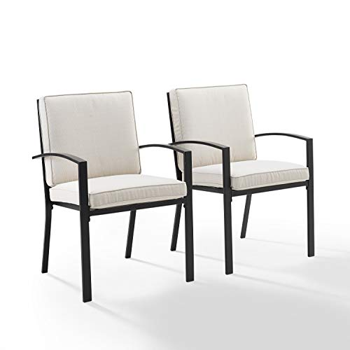 Crosley Kaplan 2Pc Outdoor Dining Chair Set Oatmeal/Oil Rubbed Bronze - 2 Chairs