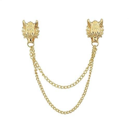 Feelontop® Gold Silber Farbe Metall Wolf Kopf Lange Kette Kragen Brosche Clips mit Schmuck Beutel (Gold)