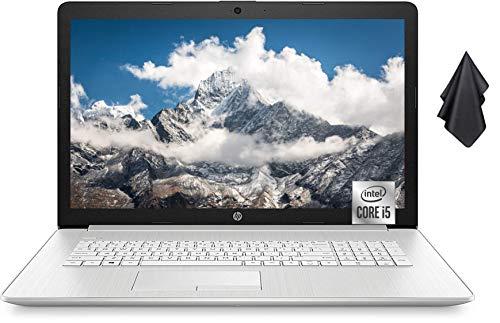 "2021 Newest HP 17.3"" HD+ Touchscreen Laptop, Intel Quad-Core i5-1035G1 Processor, 16GB Memory, 512GB SSD, DVD-RW, Webcam, Numeric Keypad, WiFi, HDMI, Windows 10 Home, Silver + Oydisen Cloth"