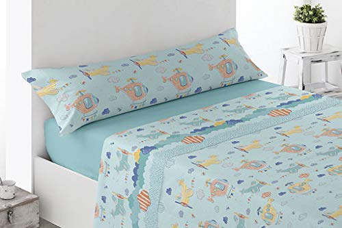 GALAXI Juego DE SÁBANAS CORALINA 3/Piezas Modelo: HELICÓPTEROS, Color: Azul, para Cama DE 105cm.