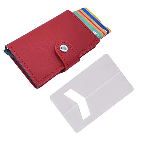 Tarjetero de Hombre pequeño con Monedero (con pequeña Cartera) – Tarjetero metalico Aluminio automatico RFID para Tarjetas de crédito de Piel Sintetica ✚ Soporte Tarjeta para teléfono movil (Rojo)
