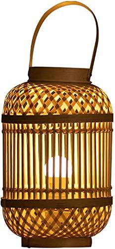 APXZC Linterna de Tejido de bambú Chino Lámpara de Mesa Sala de Estar Dormitorio Lámpara Decorativa Lámpara de pie Lámpara de Escritorio Luz de Noche