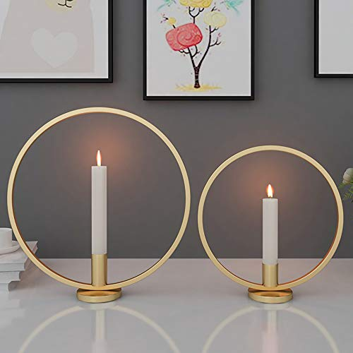 Baffect Saison Kerzenhalter Set 2, Eisen Kerzenlicht Halter Nordischen Stil kerzenständer Hochzeit tischdekoration für Kaffee Bar Party Hochzeitskerze, Gold