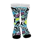 Boston Terrier Pop Art Calcetines de vestir de algodón novedosos unisex Calcetines de compresión atléticos de media pantorrilla Calcetines de senderismo de viaje novedosos, tobilleras suaves