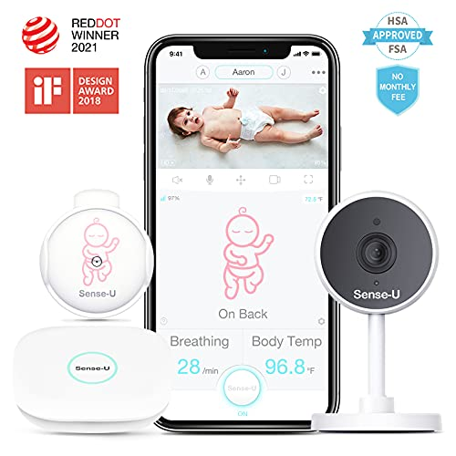 Sense-U Video+Breathing Baby Monitor 2 with 1080P HD Camera -HSA/FSA Approved- 2-Way Talk, Night Vision, Background Audio, Motion Detection, Body Temperature, Sleep Position, from Anywhere (Pink)