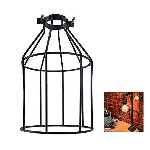 LKHF Metal Bulb Guard Abrazadera Jaula de lámpara Soporte de lámpara Vintage Estilo Abierto Alambre Industrial Negro Jaula de pájaros de Hierro para Colgar Luces Colgantes Ventilador de Techo Luz