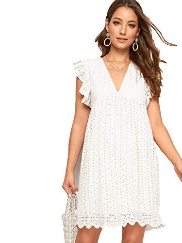 Romwe Women's Plain Short Sleeve Floral Summer Floral Lace Prom Party Shift Dress White_no Stretch X-Large