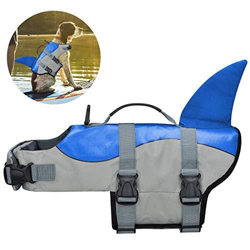 COVVY Hunde-Schwimmwesten für Haustiere, Schwimmweste, Hai, Schwimmweste, Welpen-Badeanzug, verstellbarer Mantel für Hunde mit Griffen für einfache Rettung (S, Blau)