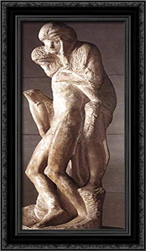 Pietà Rondanini (Unfinished) 14x24 Black Ornate Wood Framed Canvas Art by Michelangelo di Lodovico Buonarroti Simoni