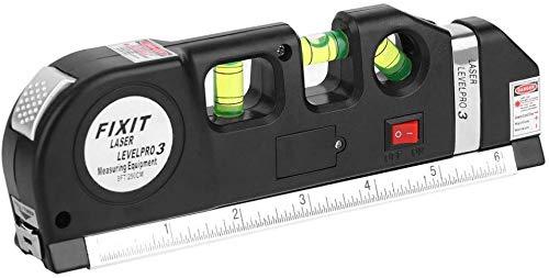 GJJSZ Indicateur de Niveau Multifonction,indicateur de Niveau à Laser avec 2,5 mètres pour mesurer Le Ruban et Les Gouttes d'eau d'un Angle de Mesure de 45 degrés pour mesurer Une Surface accidentée