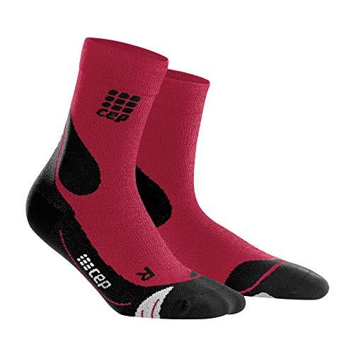 CEP – Hiking Merino MIDCut Socks für Damen | Warme Wandersocken knöchellang in dunkelrot/schwarz | Größe III