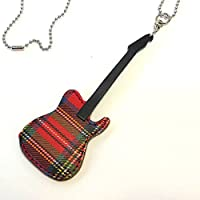 JAJABOON テレキャスター タイプ ギター ピック ケース ペンダント型 ROYAL タータンチェック (ギターピック付)【 本革 (レザー)製