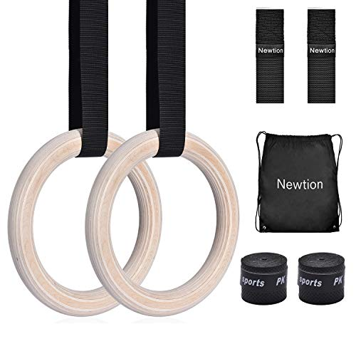 Wooden Professional Gymnastic Fitness Rings with 15ft Adjustable Buckle Straps Anti-Slip Sweat-Absorbent Hand Tape Exercise Rings for Cross-Training Workout,Gymnastics,Fitness,Bodybuilding,Pull-Ups
