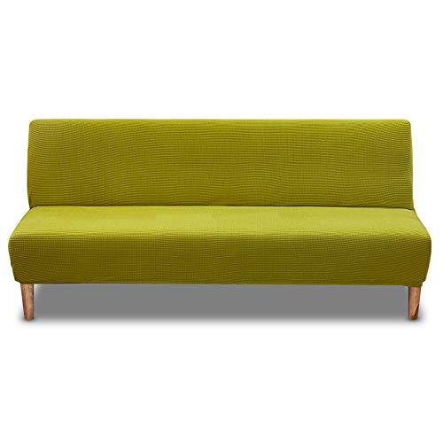 Carvapet Elástica Fundas de Sofá Sin Brazos Funda Sofa Clic Clac Sofá Protector Antideslizante Cubre Sofá (Verde Amarillo)