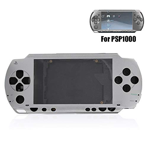 Mavis Laven, Cubierta de Caja de Carcasa Completa para PSP, Juego de cáscara antirretorno de reemplazo con Juego de Botones para PSP 1000 cáscara de reemplazo (Plata)