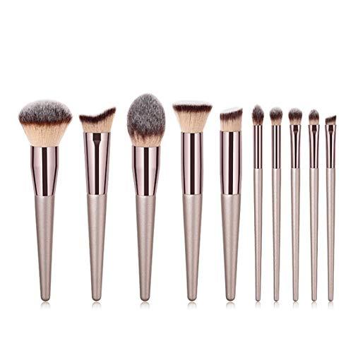 QIEZI Nylon Brosse Cosmétiques Eye Brosse 10 dans 1 Outils De Maquillage Brosse De Maquillage Trousse De Toilette (Size : 10-Piece)