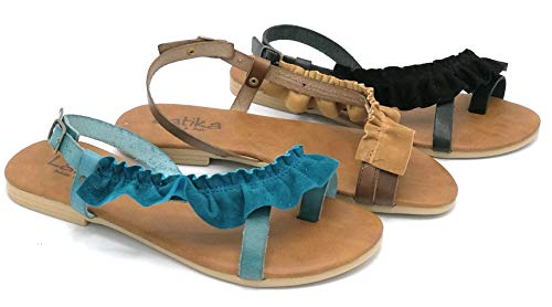 LATIKA L4166 Sandalo Leather Flip-Flops Blauw Kobalt Zwart - Schoen 36 Kleur Blauw