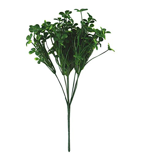JUSTDOLIFE Artificial Plant DIY Four Leaf Clover Artificial Greenery Fake Plant for Home 1PC (Green)