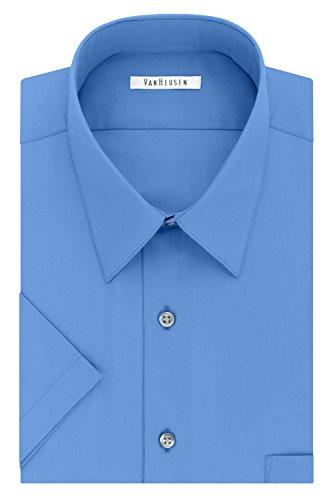 Van Heusen mens Short Sleeve Regular Fit Poplin Solid Dress Shirt, Pacifico, 14.5 Neck Small US