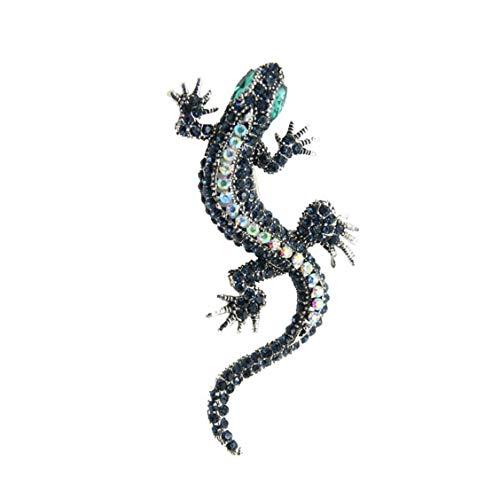 De Las Mujeres Collar Gecko Broche Lagarto De La Vendimia Pernos Cristalinos Animal Broches del Rhinestone Collar Decoración Pin