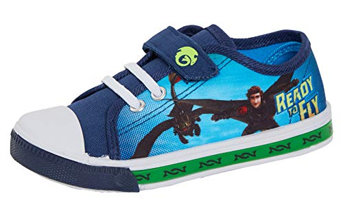 Boys How to Train Your Dragon Light Up Canvas Pumps 9 UK Child Blue