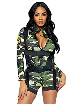 Leg Avenue 2 Piece Going Commando Set-Sexy Spandex Camo Romper and Harness Halloween Costume for Women Medium