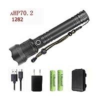 Z25 1282クリーXHP70.2&XHP50充電式強力な的なLED懐中電灯トーチライトランプ電源18650 26650バッテリー-Option H-