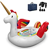 Popsport Unicorn Pool Float Party Bird Island Unicorn Float with Carrying Bag and Bump 6 People Giant Floats for Adults Use in Lake Island Ocean Pool Loungers (Unicorn)